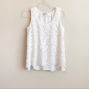 CAbi White Lace sleeveless top. Size S